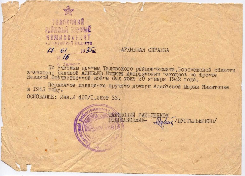Алябьев Никита Андрианович справка из военкомата